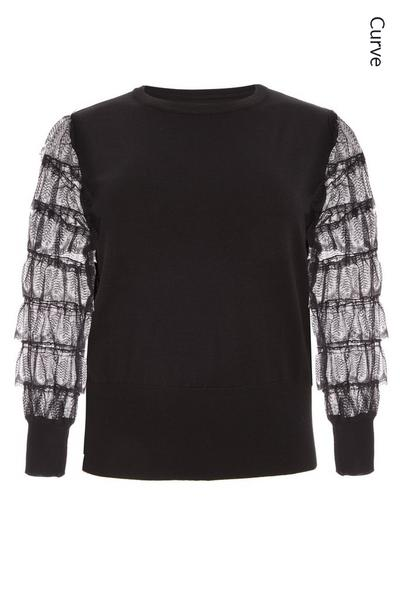 Curve Black Knitted Lace Sleeve Jumper